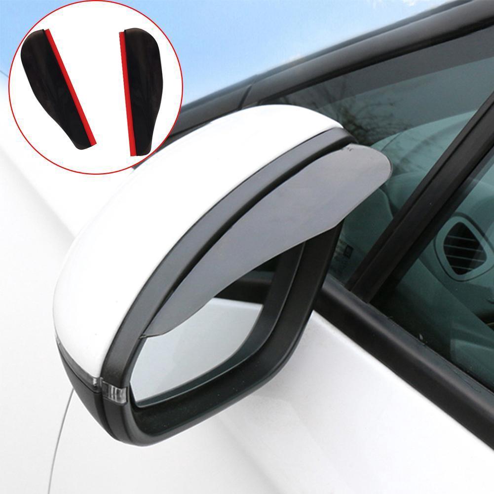 2pcs Car Rear View Mirror Sun Visor Shade Shield Rain Stop Driving Auto Black