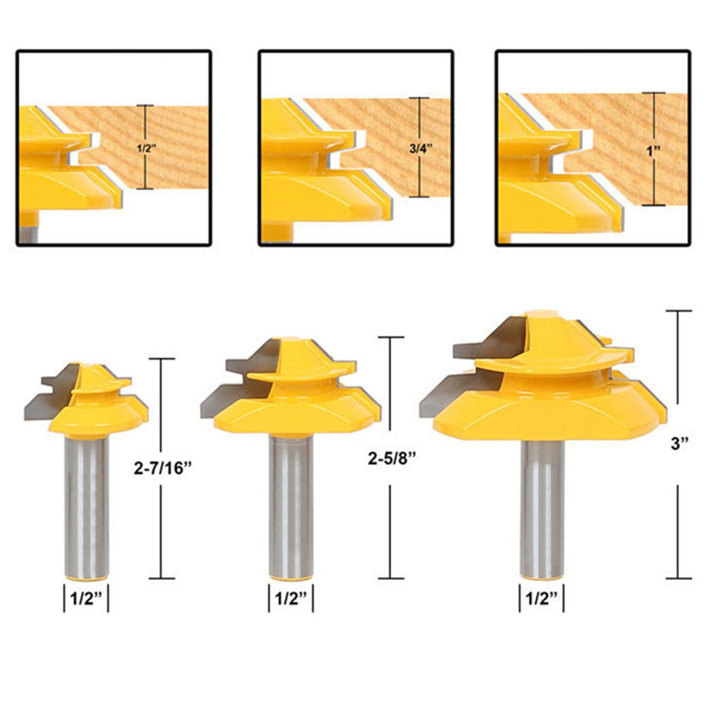 """45Degree Mitre Miter Parallel Lock 1//4/"""" Shank Corner Joint Router Drill Bit Tool"""