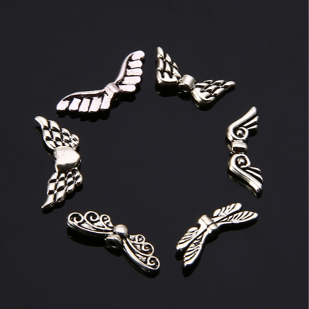 Lot 30pcs Wing Heart Antique Silver Charms Pendants DIY Jewelry Findings 15*18mm