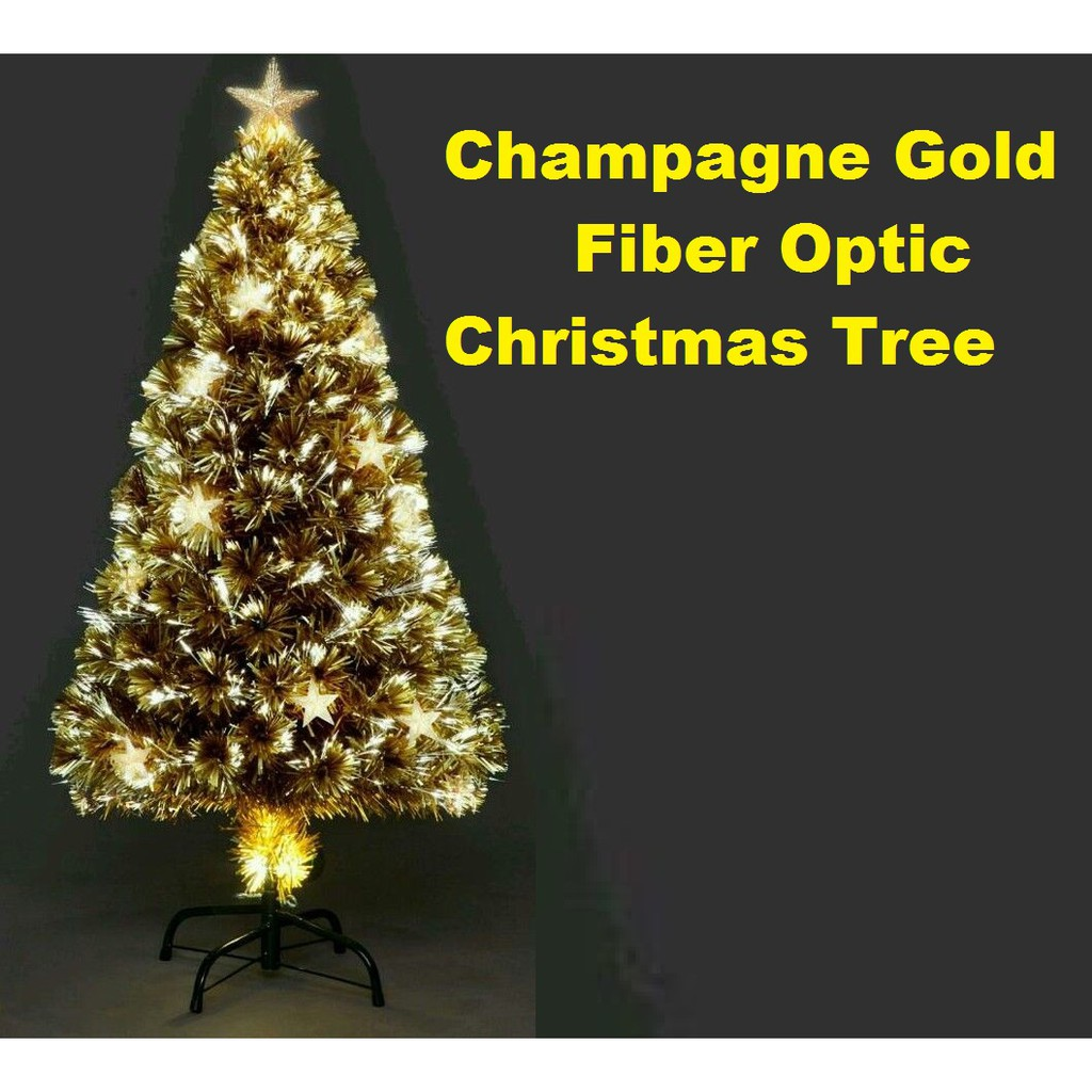 Champagne Star Fiber Optic Gold Christmas Tree