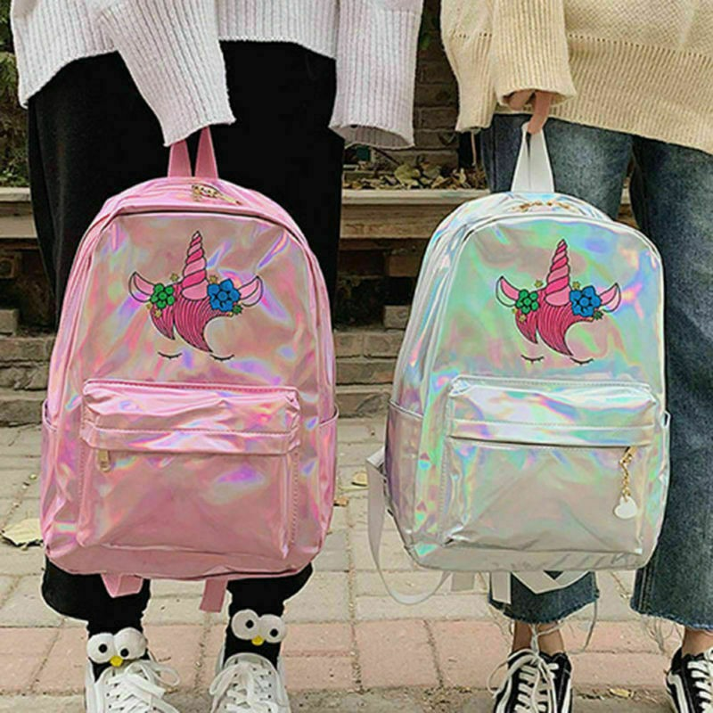 Kid Girls Unicorn Glitter Laser Backpack School Rucksack Bag Gifts US Novelty