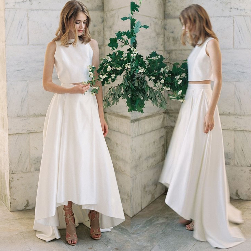 2020 New Two Piece Set Of Satin Front Short After Long Bride Wedding Dress Brigade Shot Simple Fashion Light Wedding Dress Qs128 Shopee Philippines,Long Sleeve Maxi Dresses For Weddings