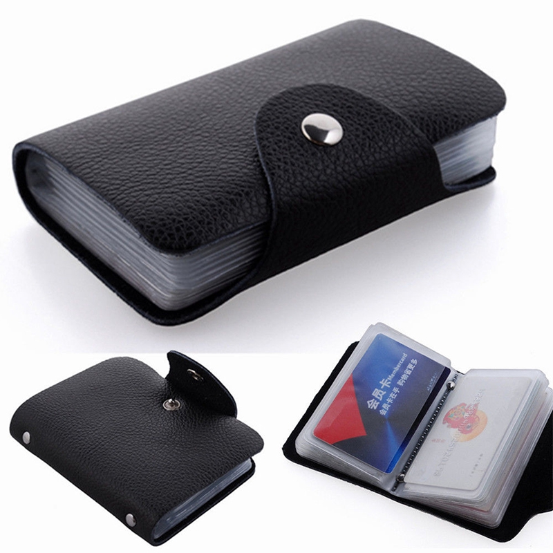 24 Cards Pu Leather Credit ID Business Card Holder Pocket Wallet Purse Box New