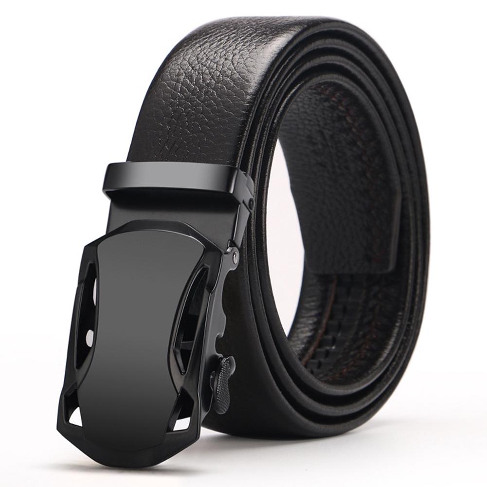 Casual Men Automatic Buckle Belt Black Leather Belts Ratchet Waistband New!