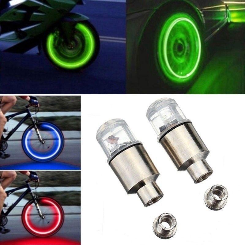 2PCS Valve Stem LED CAP for Bike Bicycle Car Motorcycle Wheel Tire Light lamp