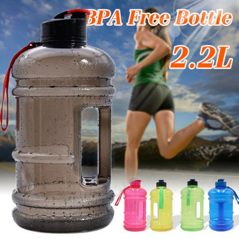 4 x Water Bottle 2L Large BPA Free Sport Gym Training Drink Cap Workout