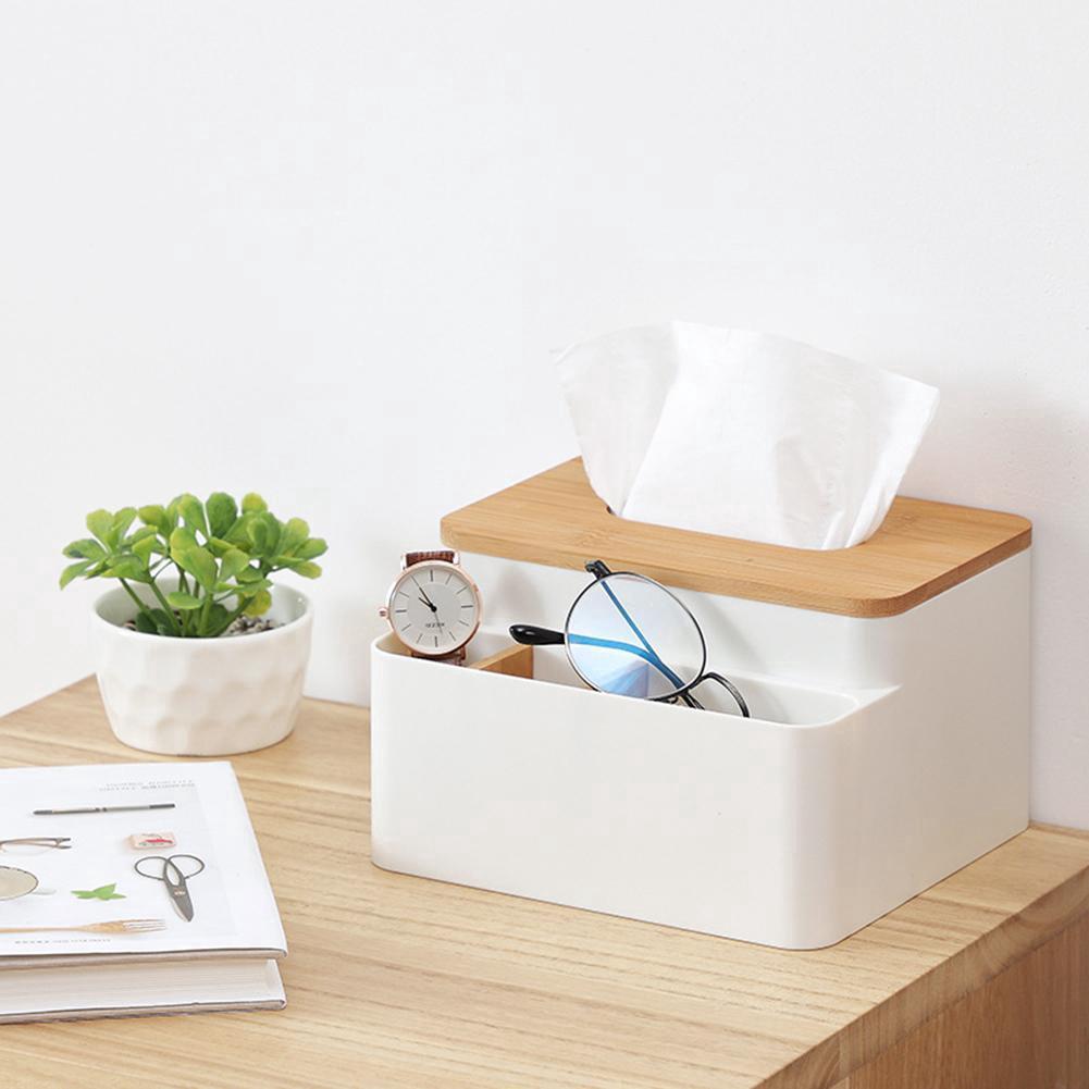 Bamboo Tissue Box Multifunction Paper Holder Storage Case Home Office Organizer