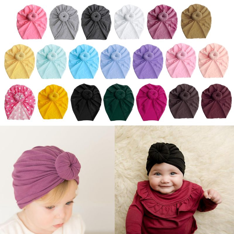 Newborn Toddler Baby Turban Tie Knot Kids Boys Girls India Hat Soft Beanie Cap