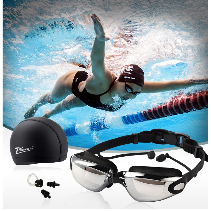 Anti Fog Waterproof Swimming Goggles Protection Swiming Glasses Set for Adult