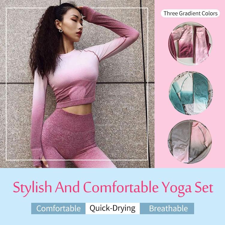Women Yoga Set Gym Clothing Leggings+Crop Workout Sport Suit