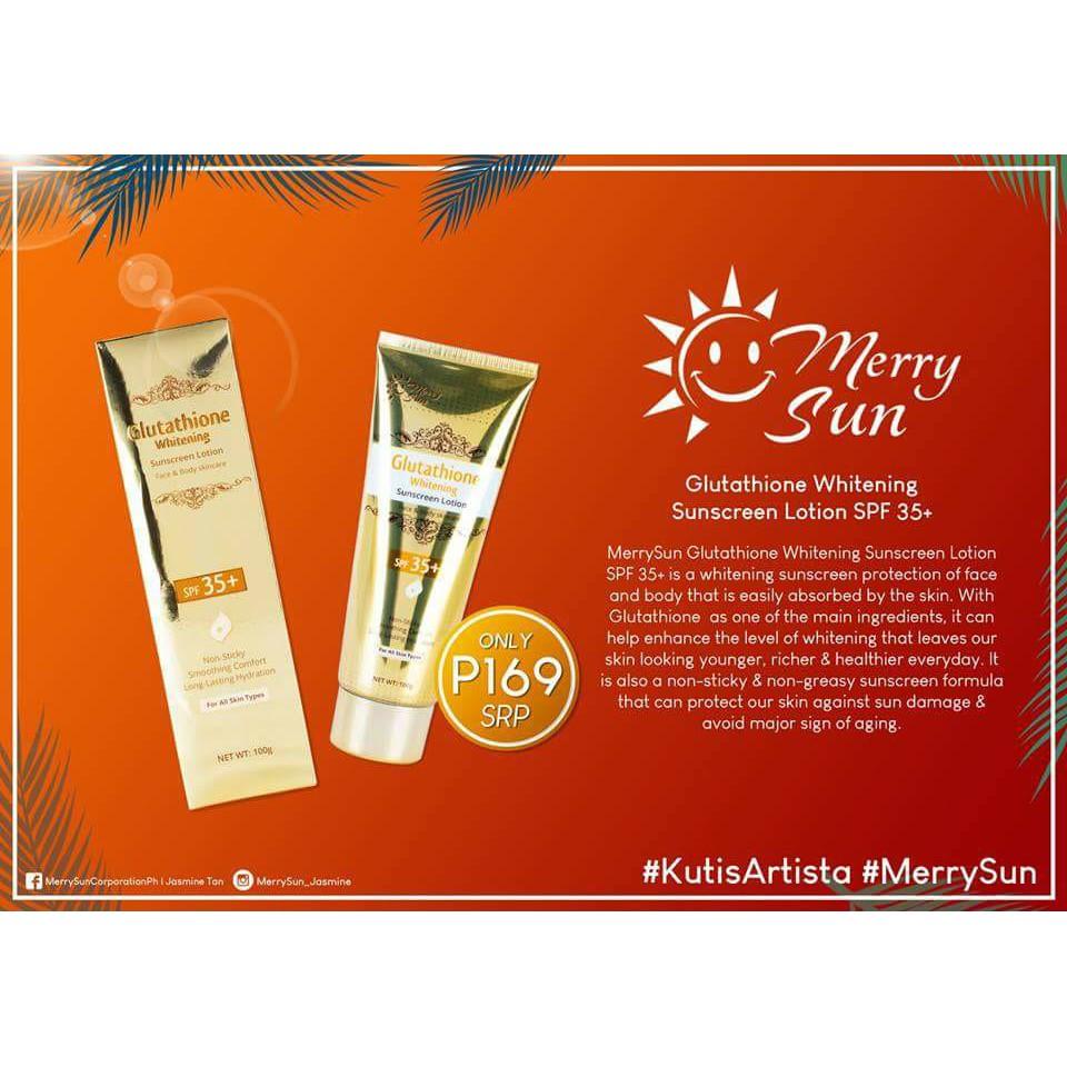 Merry Sun Glutathione Whitening Sunscreen Lotion Spf 35 Nivea Shopee Philippines