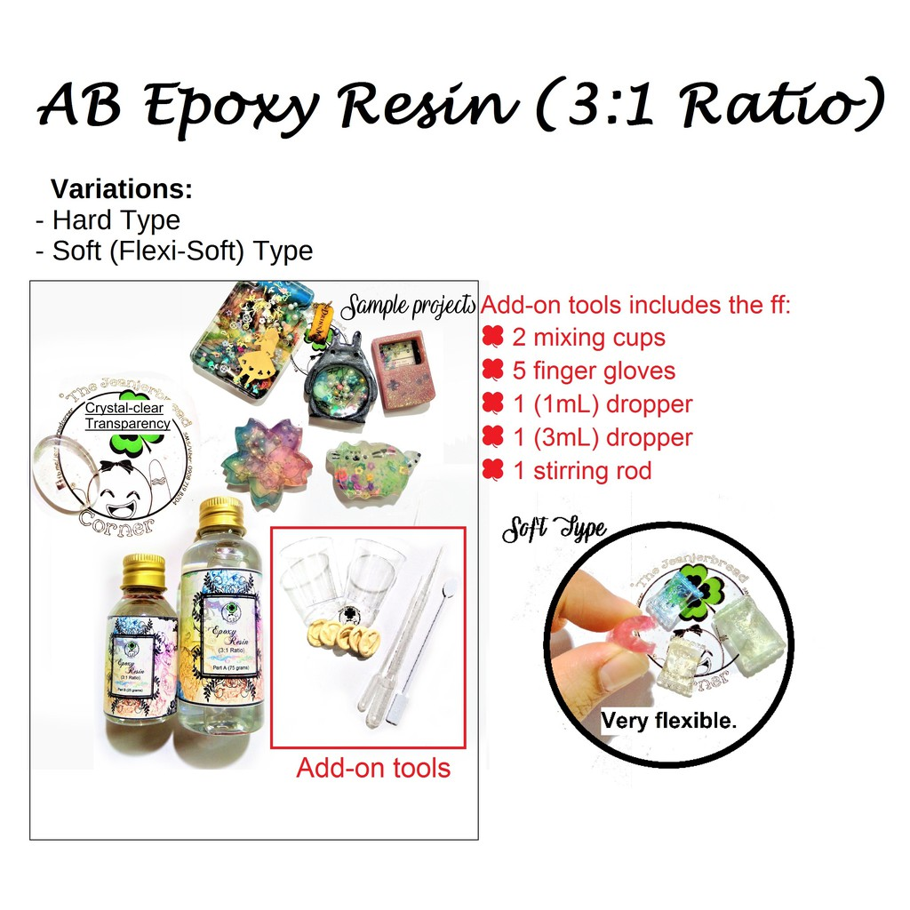 Jewelry-Grade Clear Cast AB Epoxy Resin 3:1 (like easycast) Soft Resin and  Hard Resin Available