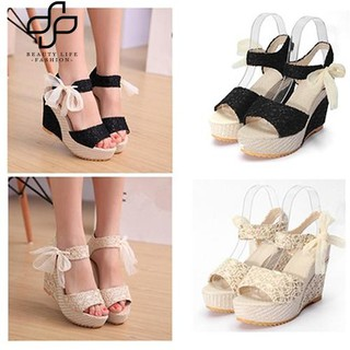 07f3a79e32 【COD】Beauty Women Summer High Heel Wedge Platform Sandals Bowknot Ankle  Lace Strap Shoes