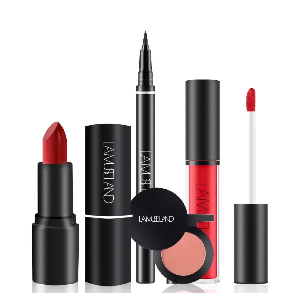 2701bfeeea LAMUSELAND 4Pcs/Set Makeup Set Lipstick Lip Gloss Eyeliner Blush #LMLS01