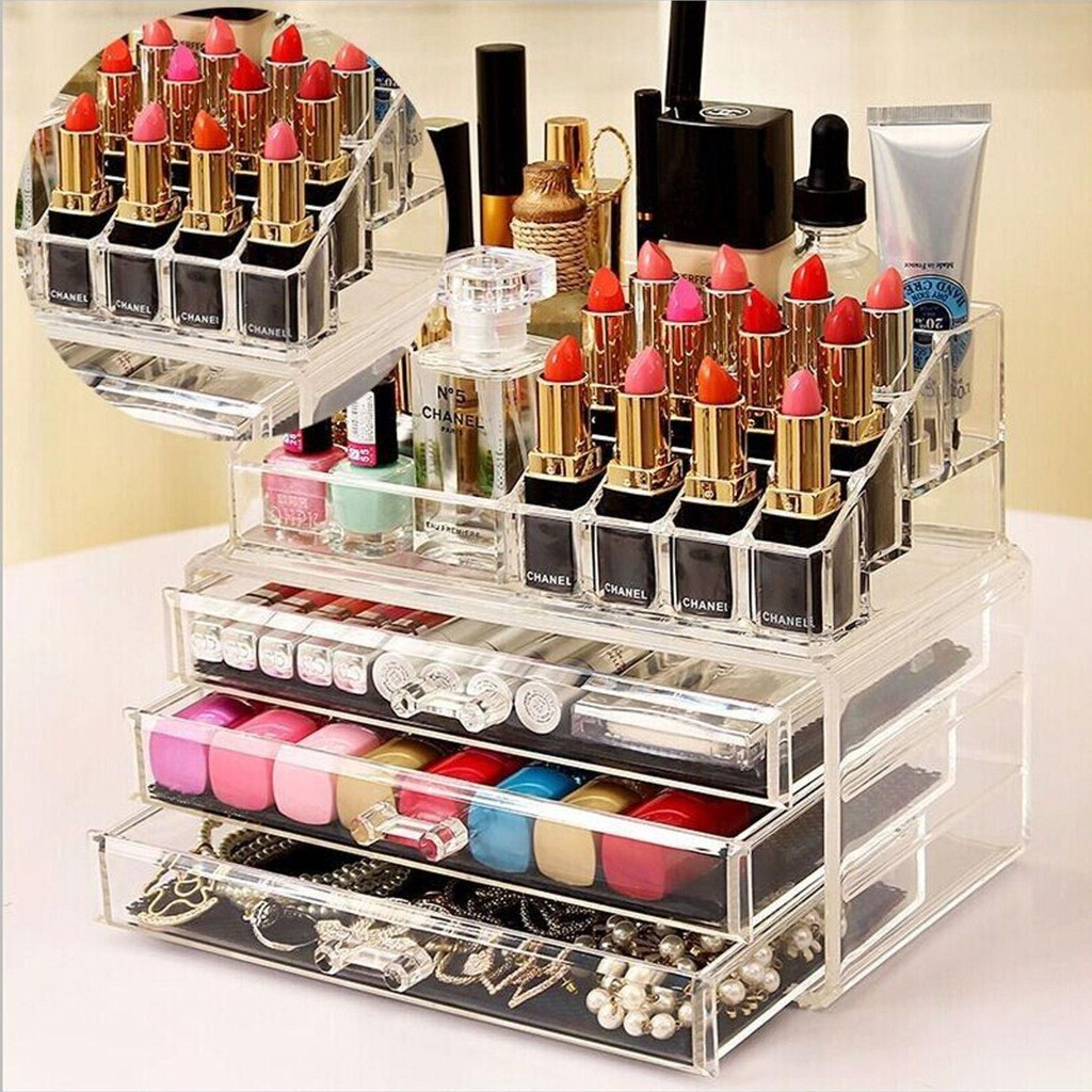 3 Drawers/3Layers Clear Acrylic Cosmetic Makeup Jewelry ...