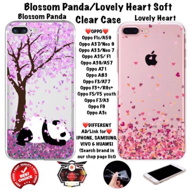 Panda Heart Oppo Case F1s A33 A37 A71 A83 F1 F3 F5 F7 iphone