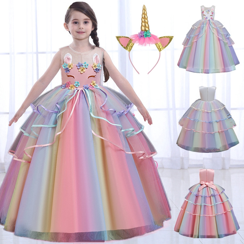2020 New Fashion Princess Dress Rainbow Unicorn Cosplay Girls Dress Birthday Long Dresses For Kids Wedding Party Ball Gowns Fancy Children S Clothing Shopee Philippines,Traditional Indian Wedding Guest Dresses For Girls
