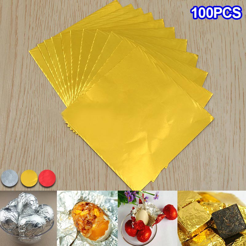 100* Useful 24K Gold Leaf Sheets For Art Craft Design Gilding Framing Scrap Hot