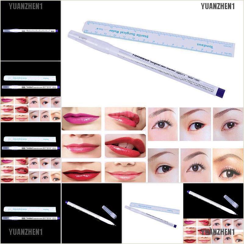 【YUANZHEN1】Surgical Skin Marker Pen Ruler Scribe Tool Tattoo Piercing  Permanen