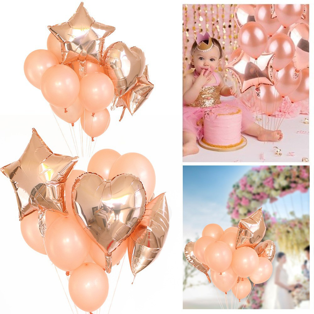 Set of 14 Rose Gold Confetti Balloon,Foil Heart /& Star Helium Ballon Party Decor