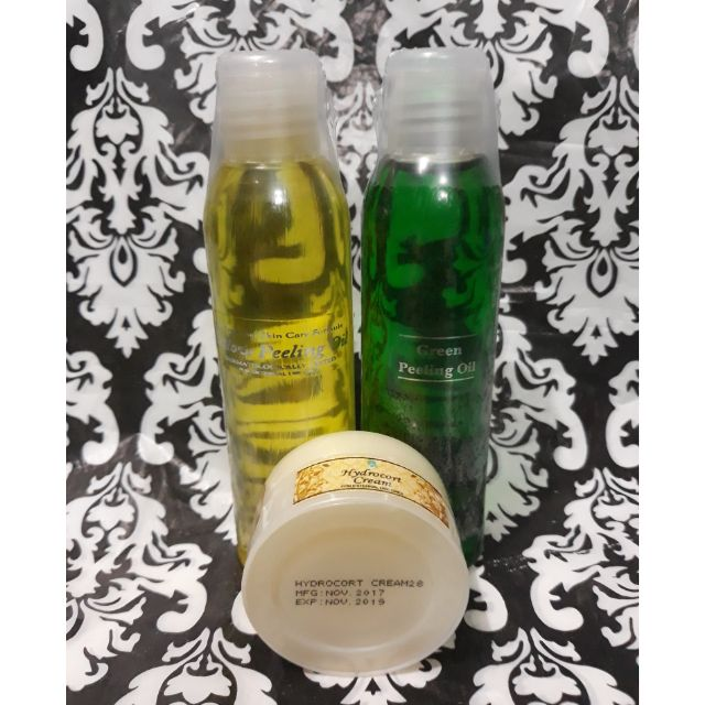 Yellow and Green Peeling Oil with Hydrocort Cream