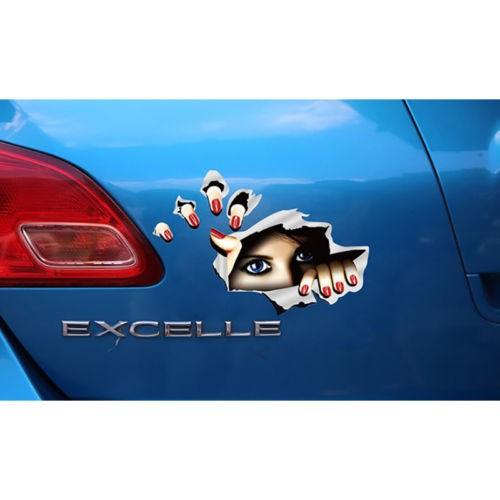 Auto Car 3D Creative Man Finger Hole Decal Sticker For Body//Window//Door//Fender