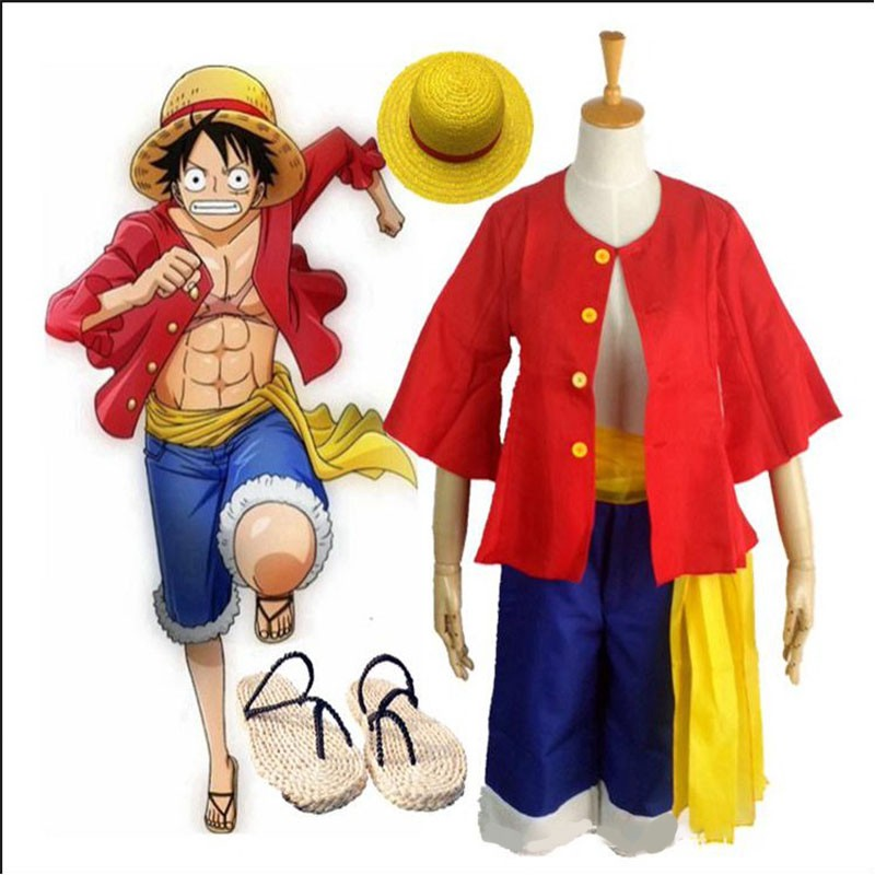 One Piece Cosplay Costumes Monkey D Luffy 1st Cosplay T Shirt Clothes Hat Uniform For Children Kids Halloween Costumes Pants