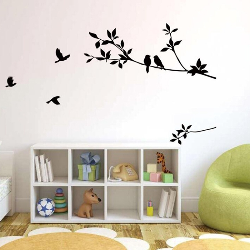 Cartoon Bird Branch Wall Decal Living Room Bedroom Home Decor Shopee Philippines