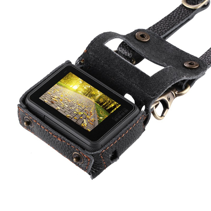 Color : Brown for GoPro HERO7 Black //6//5 Litchi Texture Genuine Leather Housing Case with Set Key Hole /& Neck Strap /& 52mm UV Lens Durable