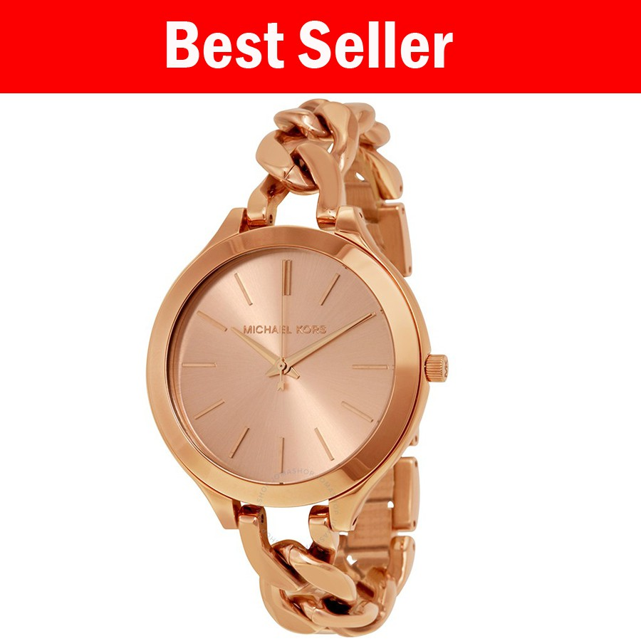 d9e6b1826f15 Michael Kors Ladies Slim Runway Rose Gold-Tone - MK3336