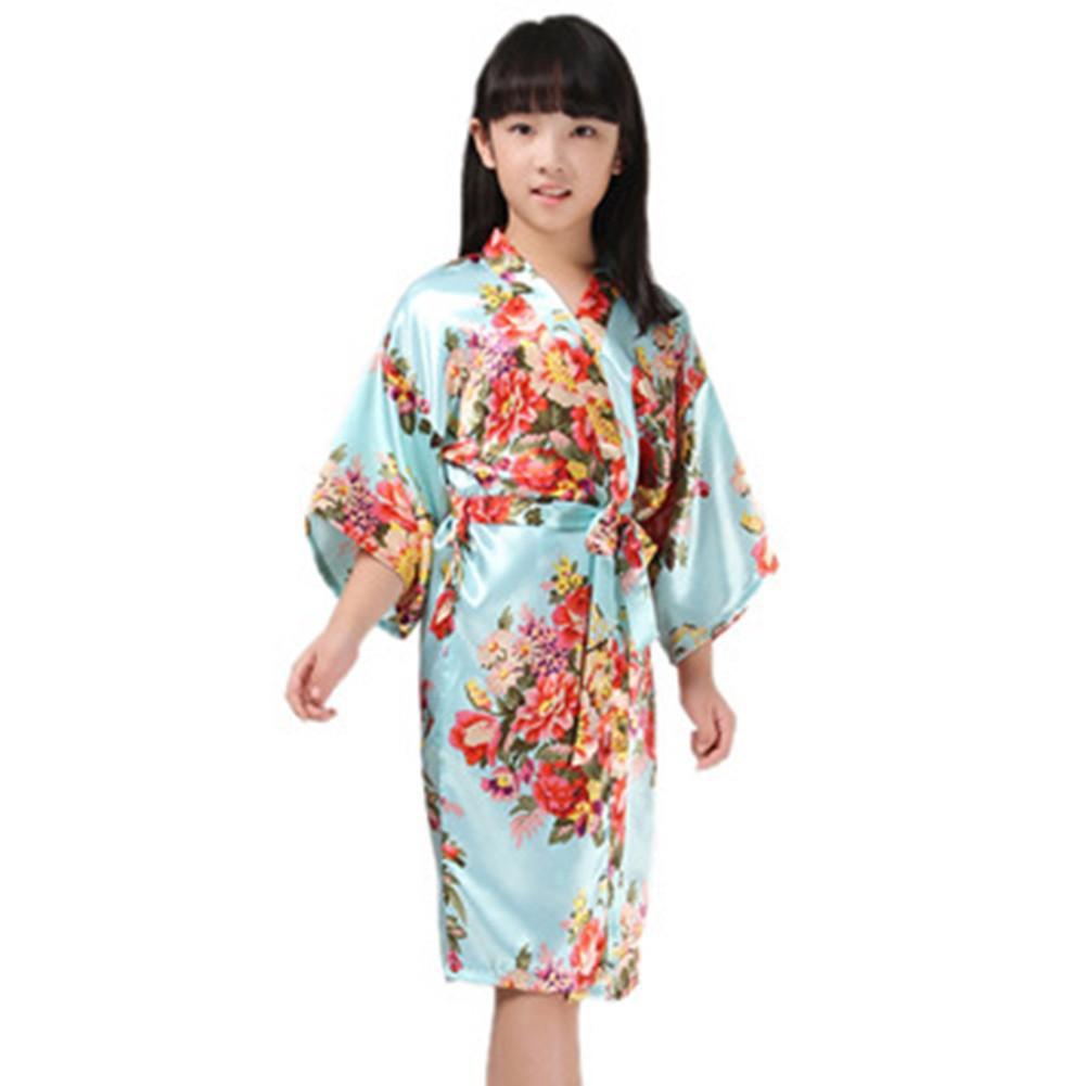 92b47c26a Kids Printing Satin Silk Robe Kimono Bridal Night Dress Gown ...