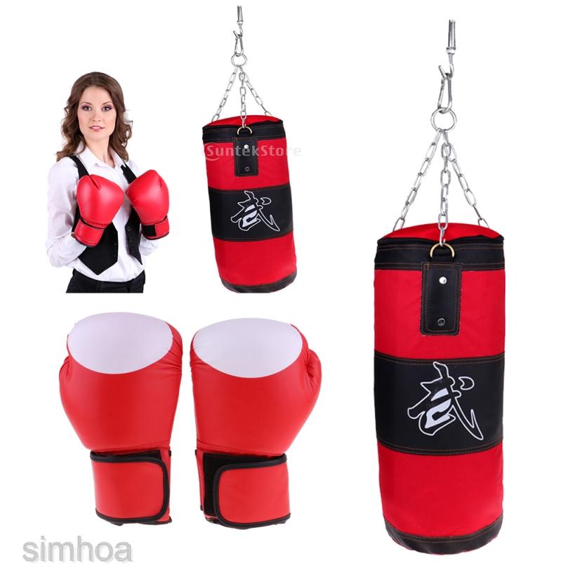 Adults Men Boxing Gloves Muay Thai Gym Punching Bag Half Finger Train Mitts CF