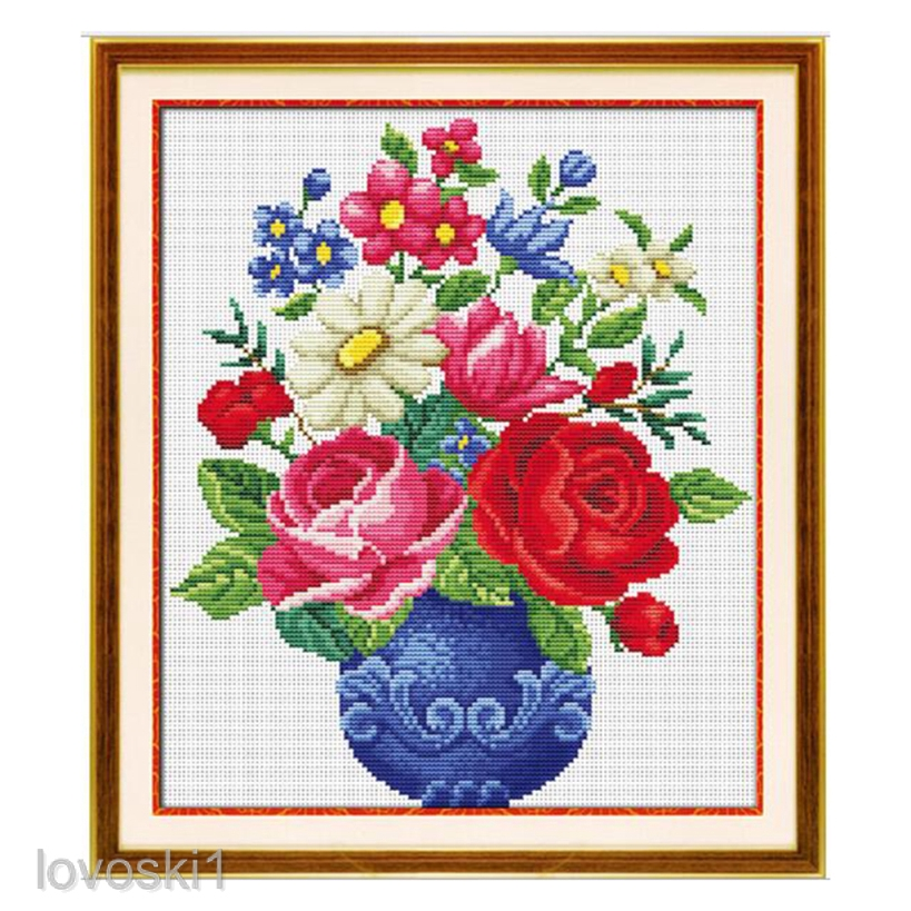 Flower Basket Cross Stitch Embroidery Kit W// Basic Tool 11CT Printed Cloth