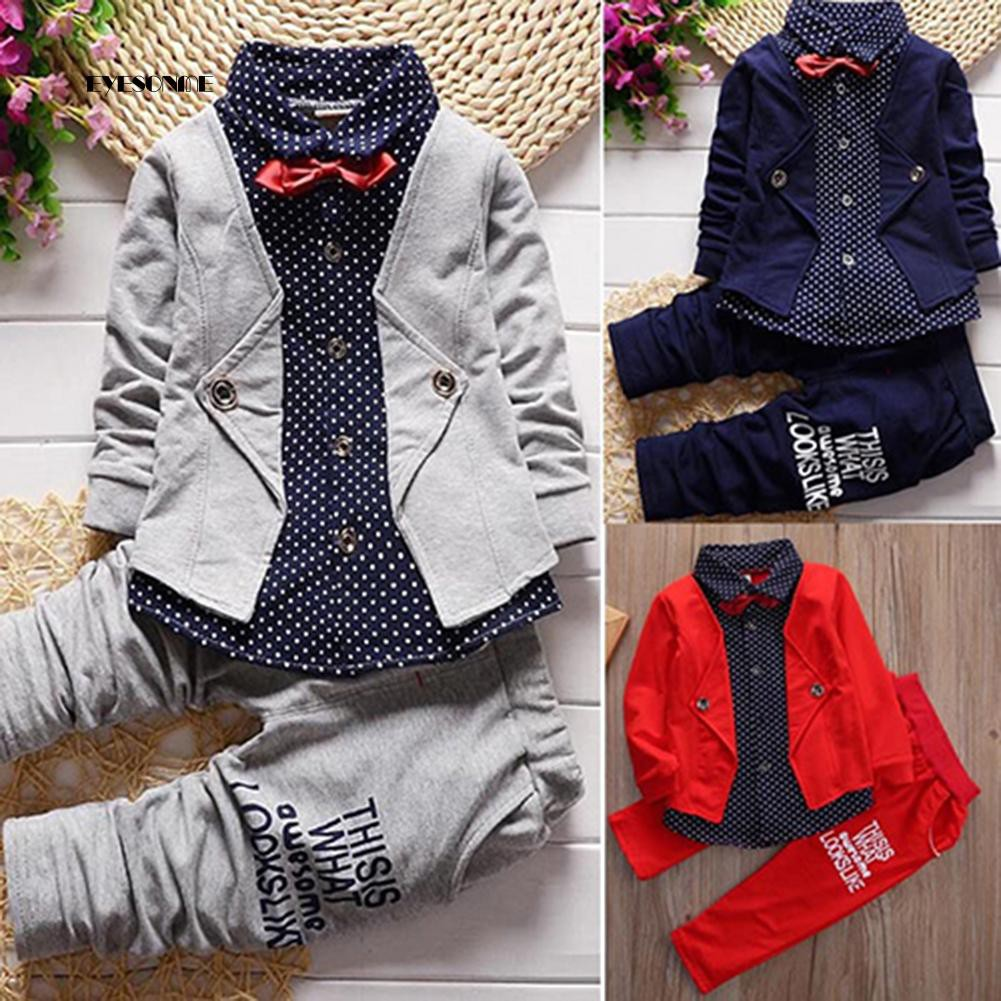 2pcs//Set Toddler Baby Boys Kids Gentleman Shirt Tops+Long Pants Clothes Outfits