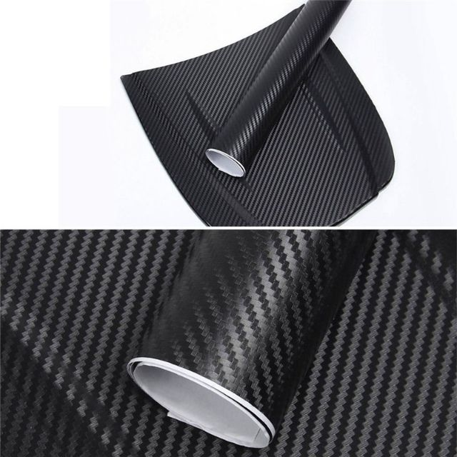"12/""x50/"" 3D Black-Carbon Fiber Vinyl Car-Wrap Sheet Roll Film Sticker Decor Sales"