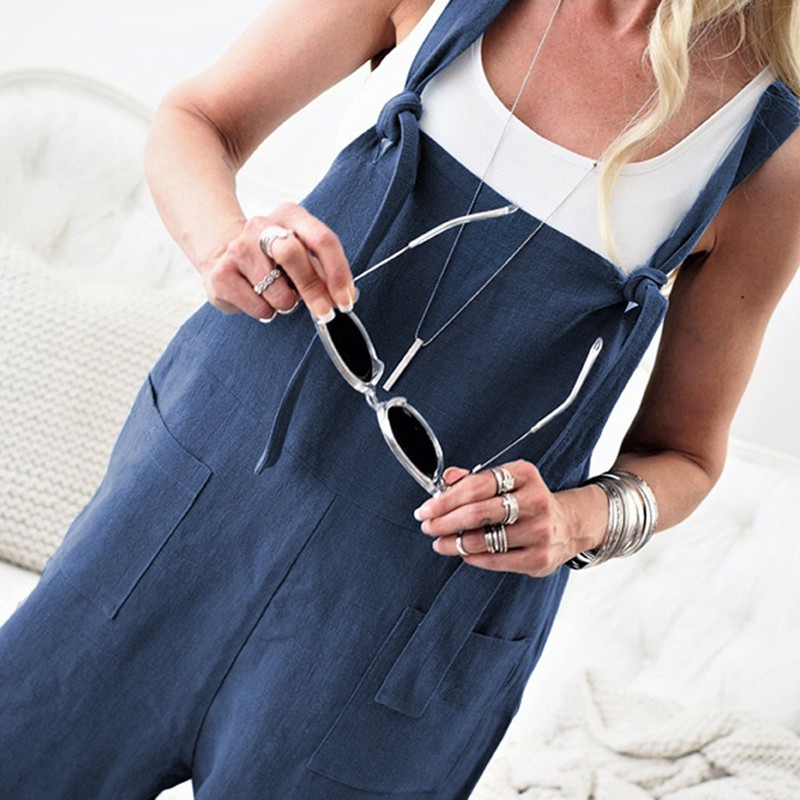 Coolred-Women Pure Colour Overalls Palazzo Cotton Linen Blend Bibs Jumpsuits