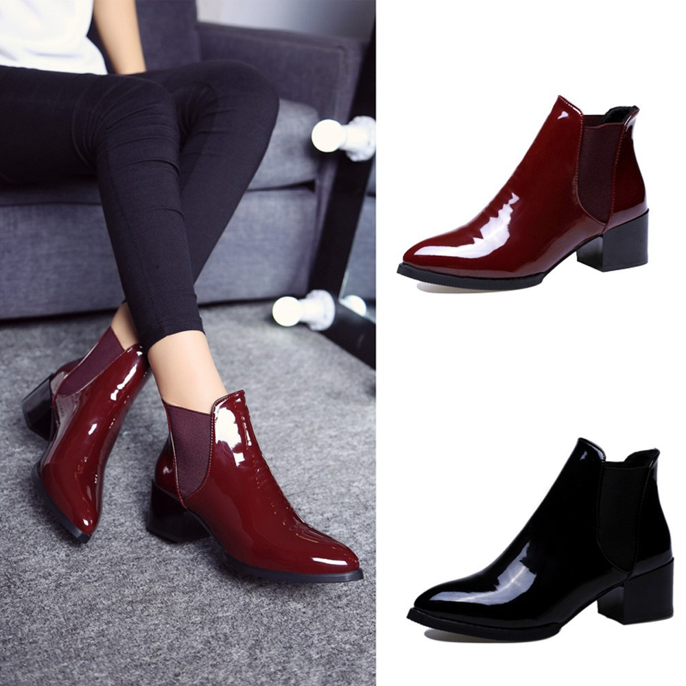 Women Elasticated Pointed Toe Patent Leather Boots Pointed Low Heel Ankle Boots