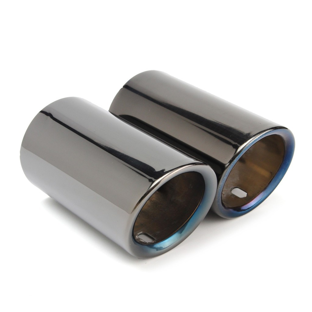 Pair Car Tail Exhaust Tip Pipes Titanium Black For BMW E90 E92 325 328i 3 Series 2006-2010 Stainless Steel