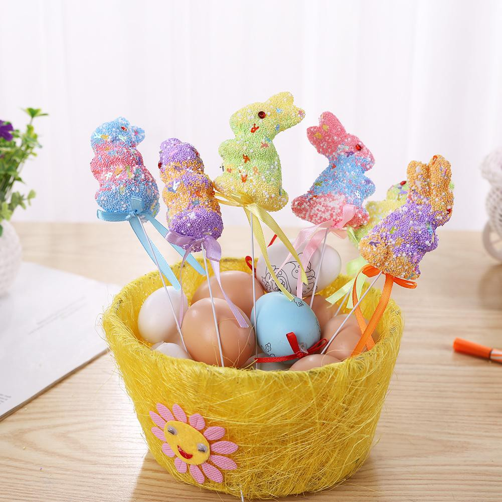 6pcs Hand Painted Foam Eggs DIY Craft Decoration For Easter Ornaments Home Decor