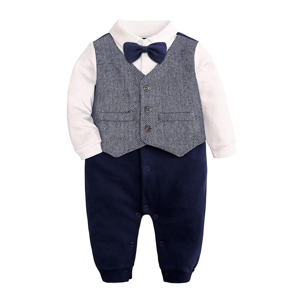 a38add9b5a02b Newborn Infant Baby Boys Long Sleeve Gentleman Bow Tie Bodysuit ...