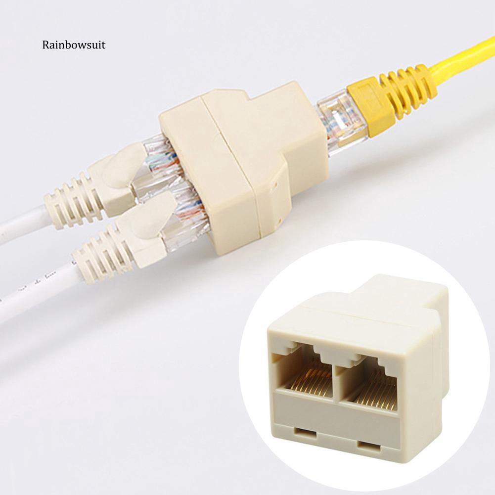 RJ45 CAT6//5 Male to 2 Female LAN Ethernet Network Splitter Coupler Adapter Cable