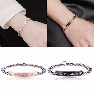 62fc1a7288 1PC His Queen Her King Stainless Steel Love Couple Bracelet Bang ...