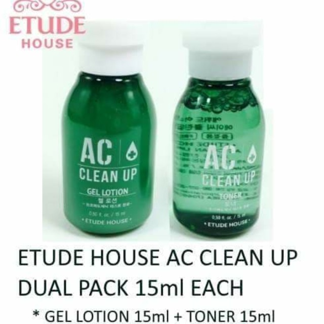 Etude House AC Clean Up Toner 15ml + Lotion 15ml 💯 original | Shopee Philippines