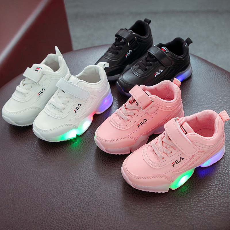 catch casual shoes attractive price BABYL FILA baby boy girl student children LED lights sports shoes ...
