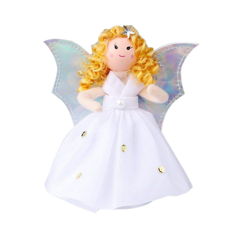 New 17cm Christmas Fabric Fairy Angel w LED Light Up Skirt Xmas Ornament Décor