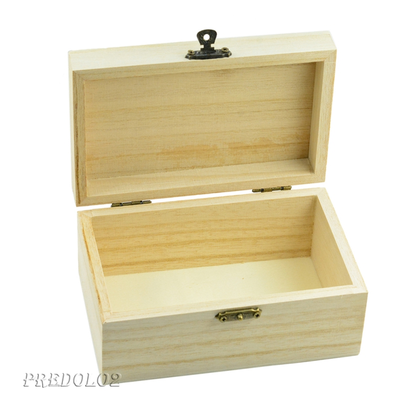 Wooden Jewelry Box Small Plain Gadgets Storage Display Box Case Holder Organizer