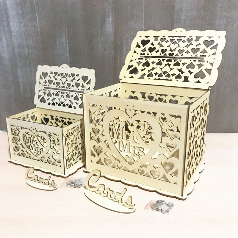 Mr Mrs Gift Wooden Invitation Box Card Sign Set Country Wedding