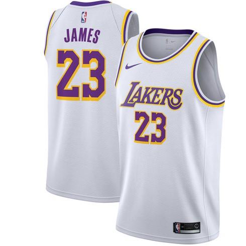 58e4ab1d4 Nike NBA 18 19 L.A.Lakers NO.23 LeBron James Jersey White