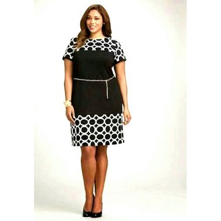 MJM COLLECTIONS PLUS SIZE DRESS WITH BELT