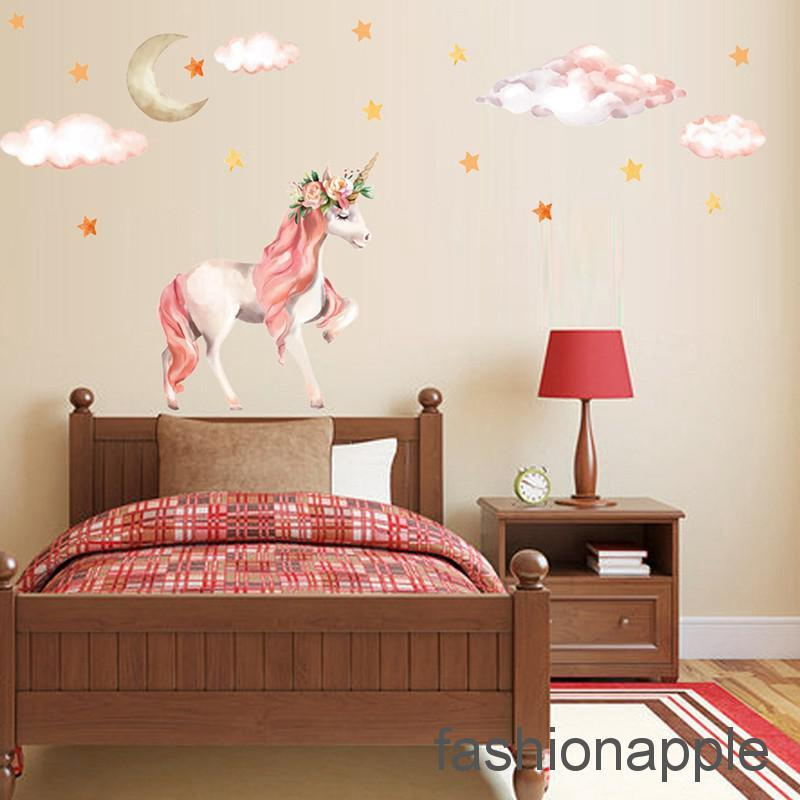 Faph Cute Unicorns Moon Cloud Wall Stickers Nordic Style Room Decor Diy Wall Decals Retail